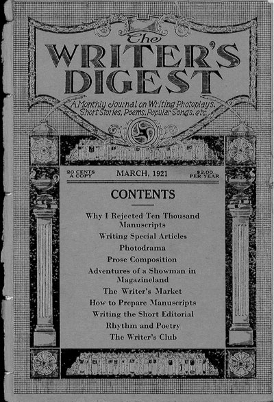 1921 Writer's Digest cover