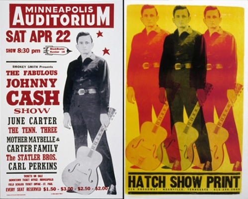 Johnny Cash original (left) and updated (right) posters