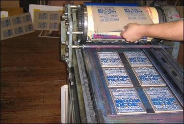 Printing press at work