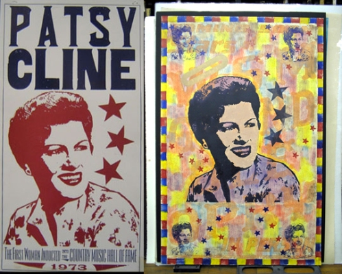 Patsy Cline original poster (left) and updated monoprint (right)