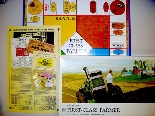First Class Farmer came with a four seasons game board, play money, mortgages and deeds, disaster cards, and pig, cow, and pickup truck game pieces.