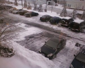 The snowy parking lot at our Cincinnati office.